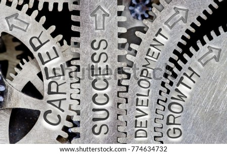 Macro photo of tooth wheel mechanism with CAREER, SUCCESS, DEVELOPMENT and GROWTH words imprinted on metal surface #774634732