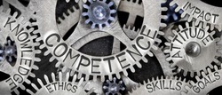 Macro photo of tooth wheel mechanism with COMPETENCE concept related words imprinted on metal surface