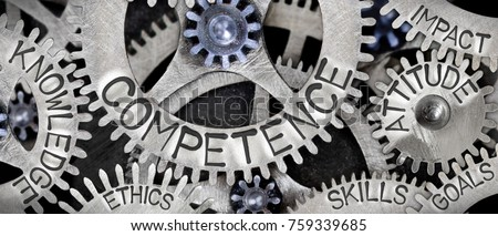 Macro photo of tooth wheel mechanism with COMPETENCE concept related words imprinted on metal surface #759339685