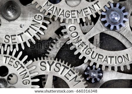 Macro photo of tooth wheel mechanism with CONFIGURATION, SYSTEM, MANAGEMENT, SETTING and TESTING concept letters