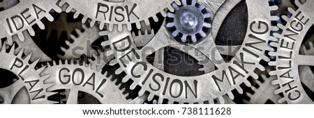 Macro photo of tooth wheel mechanism with DECISION MAKING, GOAL, RISK, IDEA, PLAN and CHALLENGE concept letters