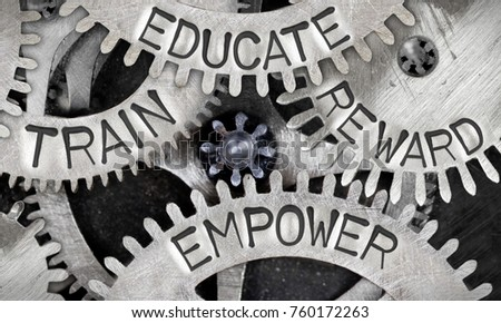 Macro photo of tooth wheel mechanism with EDUCATE, TRAIN, EMPOWER, REWARD concept words