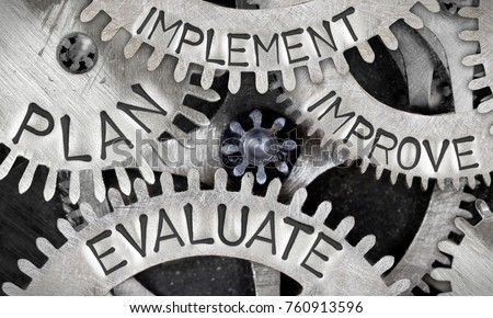 Macro photo of tooth wheel mechanism with IMPLEMENT, PLAN, IMPROVE and EVALUATE words imprinted on metal surface #760913596