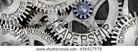 Macro photo of tooth wheel mechanism with LEADERSHIP, TEAMWORK, SUCCESS, COMPANY, GROWTH and BUSINESS concept letters #696427978