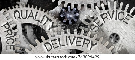 Macro photo of tooth wheel mechanism with PRICE, QUALITY, DELIVERY and SERVICE words imprinted on metal surface