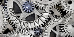 Macro photo of tooth wheel mechanism with PRODUCTIVITY, EFFICIENCY, PROCESS, GOAL, SYSTEM, PERFORMANCE and IMPROVEMENT concept words