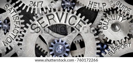 Macro photo of tooth wheel mechanism with SERVICE concept related words imprinted on metal surface #760172266