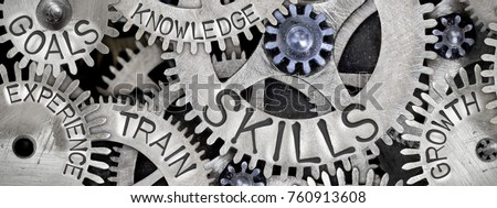Macro photo of tooth wheel mechanism with SKILLS concept related words imprinted on metal surface Stock photo ©