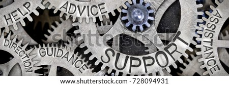 Macro photo of tooth wheel mechanism with SUPPORT, ADVICE, HELP, GUIDANCE, ASSISTANCE and DIRECTION words imprinted on metal surface
