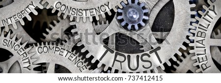 Macro photo of tooth wheel mechanism with TRUST, RELIABILITY, CONSISTENCY, COMPETENCE, INTEGRITY and SINCERITY words imprinted on metal surface Stock photo ©