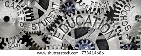 Macro photo of tooth wheels with EDUCATION concept related words imprinted on metal surface #773414686