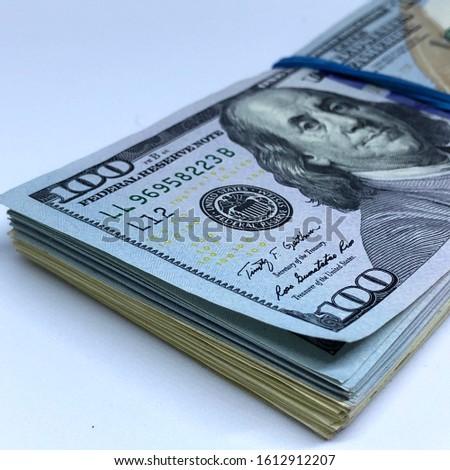 Macro photo stacks of money dollars. Stock illustration American dollars bills