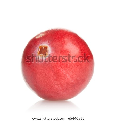Macro photograph of a fresh cranberry on white background