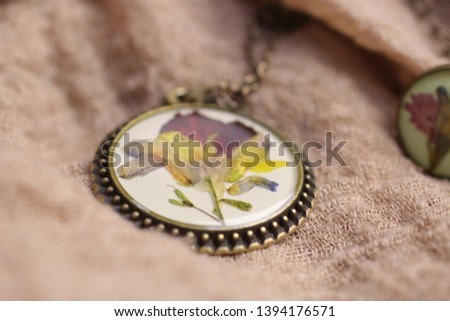 Macro photography of jewelry and bijoux in natural fabrics. Retro style, rustic style, and country style