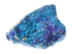 macro photography of natural mineral from geological collection - raw treated blue Chalcopyrite (Copper Pyrite) stone on white background