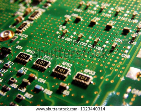 Macro picture of green printed circuit board - PCB
