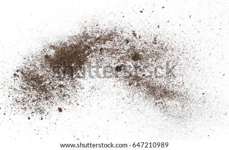 macro pile dirt isolated on white background, with clipping path #647210989