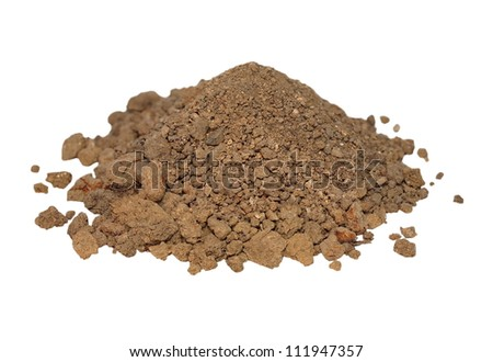 macro pile dry dirt isolated on white background