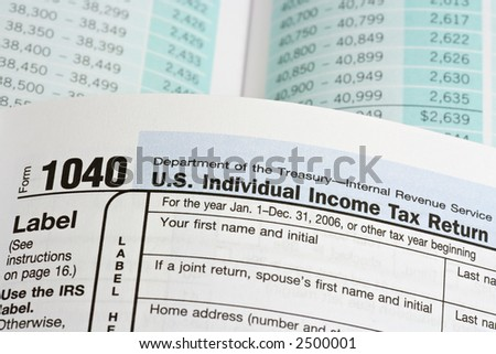 Macro Selective Focus View Of United States 1040 Tax Form Booklet