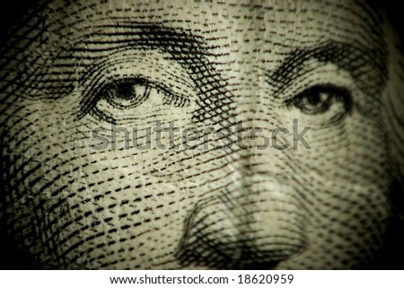 Macro shallow depth of field shot of dollar bill GEORGE WASHINGTON FACE