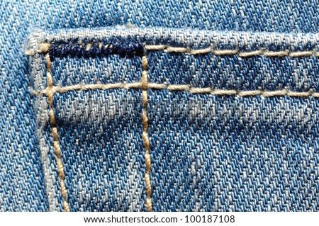 Macro shoot of blue jeans pocket.
