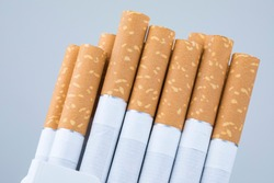 Macro shoot of cigarette filters. Heap of Tobacco Cigarettes