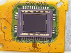 Macro shoot of digital camera's sensor. A main part in digital camera that has function to capture image projected by camera lens