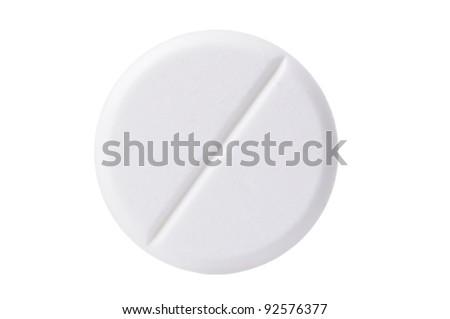 Macro shoot of single white pill isolated on white background. Close-up.