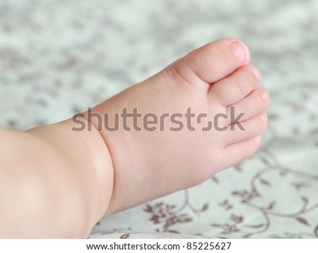macro shoot of tiny foot of four months baby