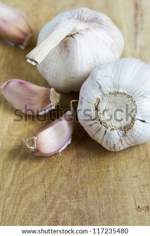 Macro shot, garlic on a chopping board