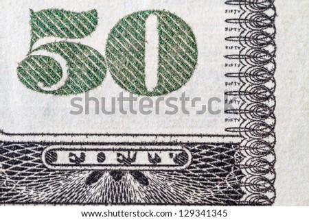 Macro shot number 50 on the US  dollar - stock photo