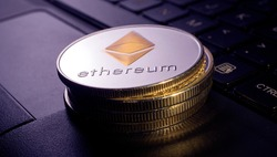 Macro shot of a bit coin Ethereum Crypto currency