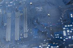 Macro shot of a dirty circuit board
