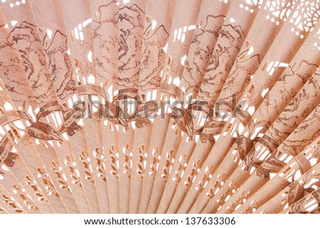 Macro shot of a fan with floral pattern