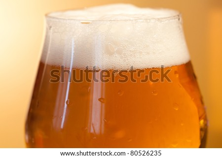 Macro shot of a glass of beer