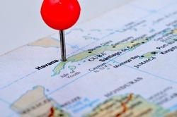 Macro shot of a map showing the island of Cuba
