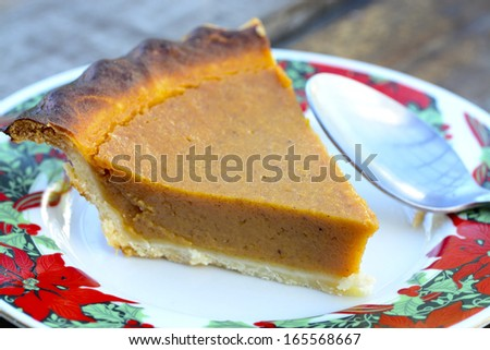 Macro shot of a piece of pumpkin pie on a wooden table
