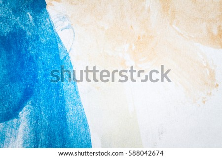 Macro shot of abstract hand drawn blue and brown watercolor paints background #588042674