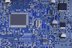 Macro shot of back side circuit board. Top view with copy space
