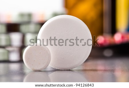 macro shot of big round pills