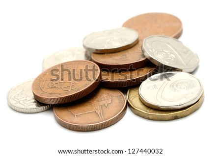 Macro shot of czech coins isolated on a white background.