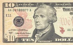 Macro shot of 10 dollar bill