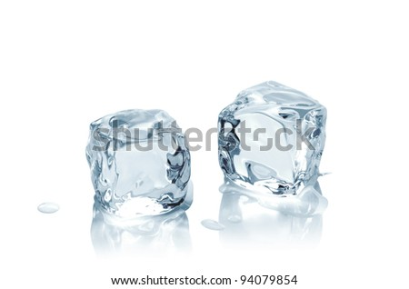 Macro shot of ice cubes on wet background