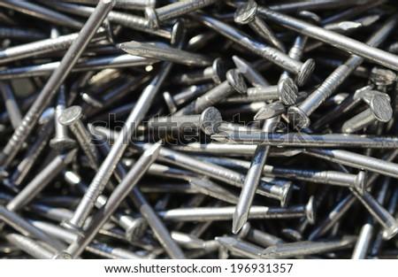 Macro shot of iron nails