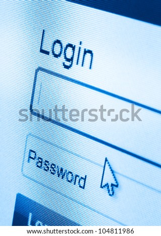 macro shot of Login and password on computer screen - stock photo