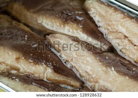 Macro shot of Mackerel Fillets in a tin