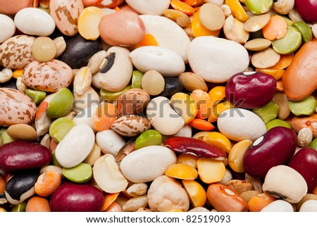 Macro shot of many different types of beans,peas and barley