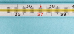 Macro shot of medical mercury thermometer. The principle of old and new. Outdated thermometer on blue background. Flat lay with a free space for text. Body temperature measuring device