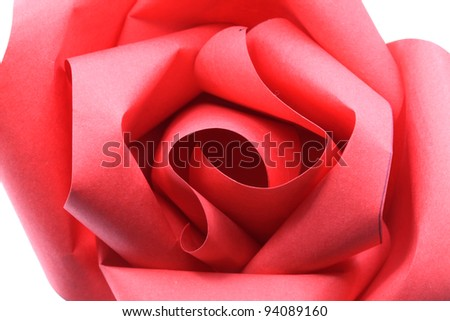 Macro shot of Rose Flower origami Paper Craft Isolated on white background