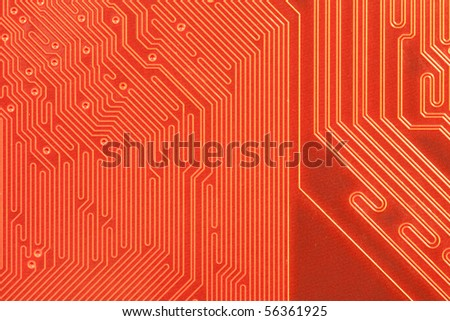 Macro shot of the backside of a computer circuit board or motherboard.